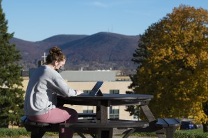 A student sitting at their computer outside.