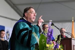 Fr. Gregoire Fluet speaking at Commencement 2021
