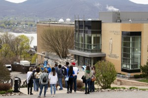 """A group of accepted students touring the Mount campus with an admissions ambassador."""