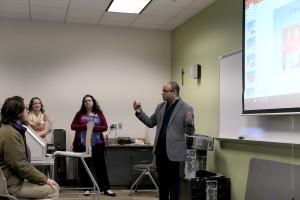 Sagar Raina teaching a Math and IT session in a Mount Saint Mary College classroom.