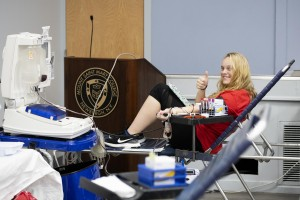 Lily Chimenti donating blood.