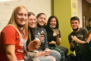 Mount students enjoying ice cream at the college's recent Sundaes with the Dominicans event.