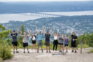Mount Saint Mary College students and professors standing at the top of Mount Beacon.