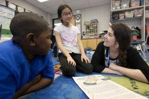 Jennifer Krom, a third grade Horizons on the Hudson teacher with students