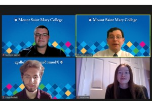 """Screenshot of Matthew Saeger, Michael McGuire, Julia Foley, and Ethan Rastadt during the panel discussion on Zoom."""