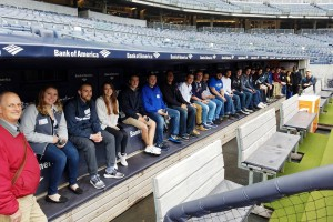 Scott Russell, assistant professor of Sports Management at the Mount, with Business students at Yankee Stadium.