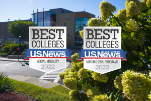 Mount Saint Mary College's Aquinas Hall in the background with U.S. News and World Report's two ranking logos in the foreground.