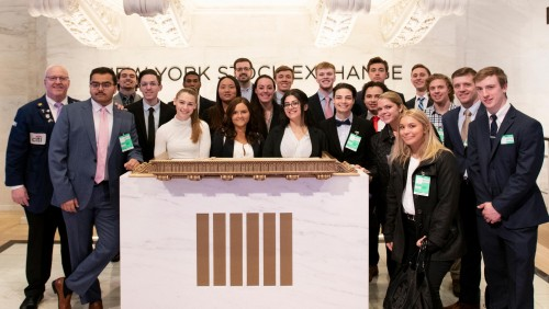 Students at New York Stock Exchange