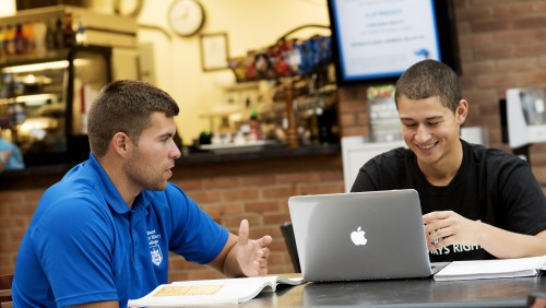 Two students sitting in cafe working
