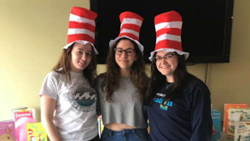 Students in Dr. Seuss hats