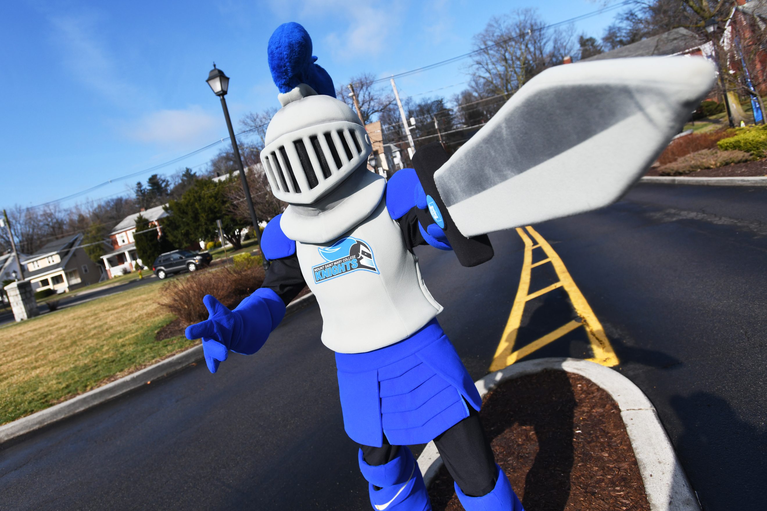 College mascot pointing his sword