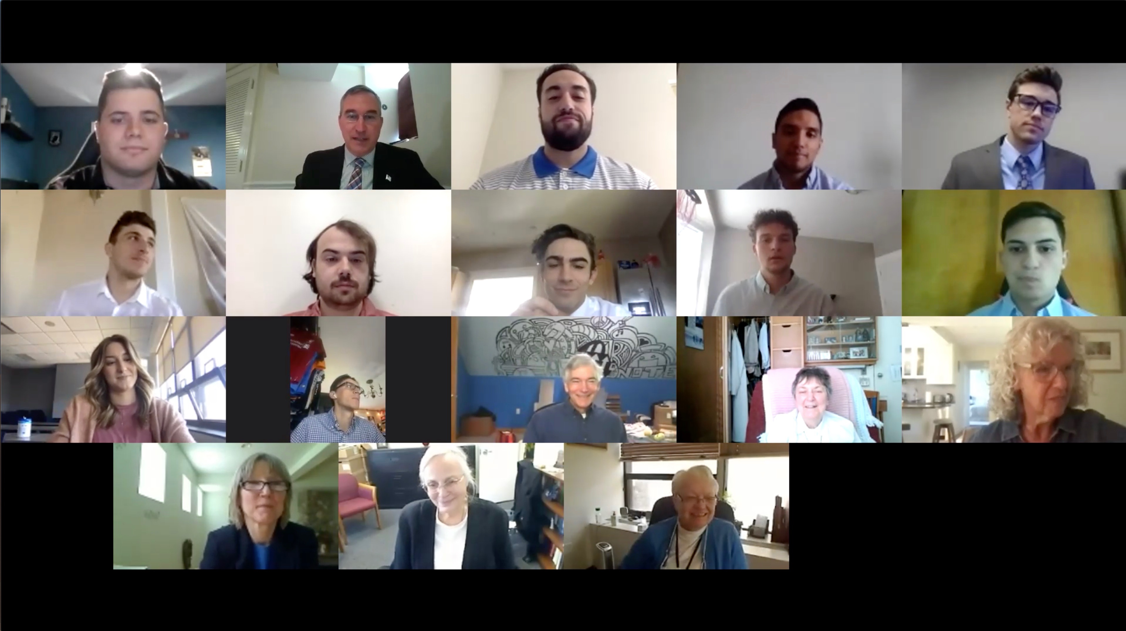 Screenshot of the Zoom meeting with the students, faculty, and RJM sisters in each video square.