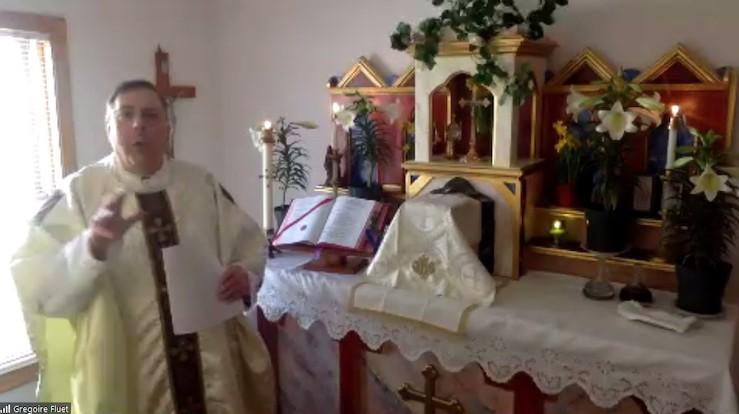Fr. Gregoire Fluet hosts Easter Mass online