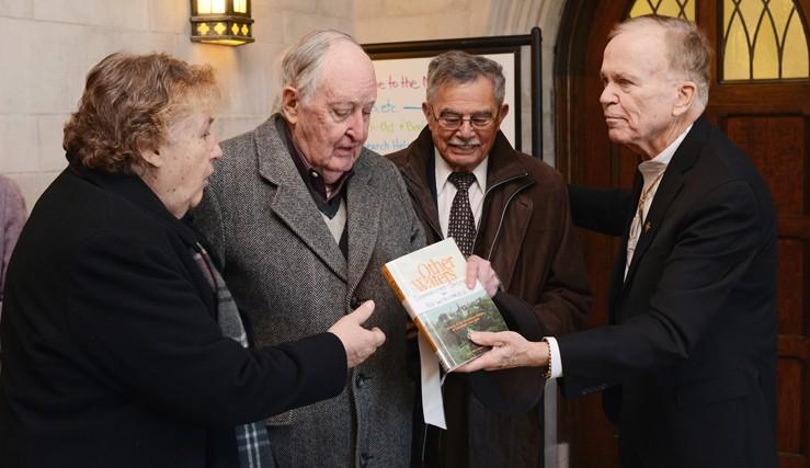 Fr. Kevin E. Mackin, Sr. Ann Sakac, James Finn Cotter, and William Kaplan