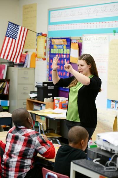 Student teaching math