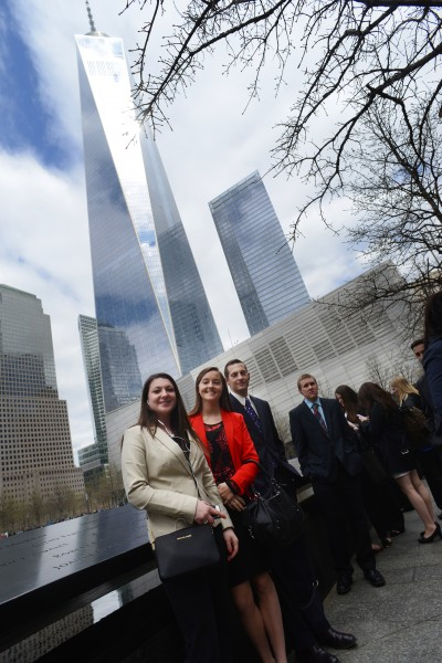 Students in NYC by Freedom Tower