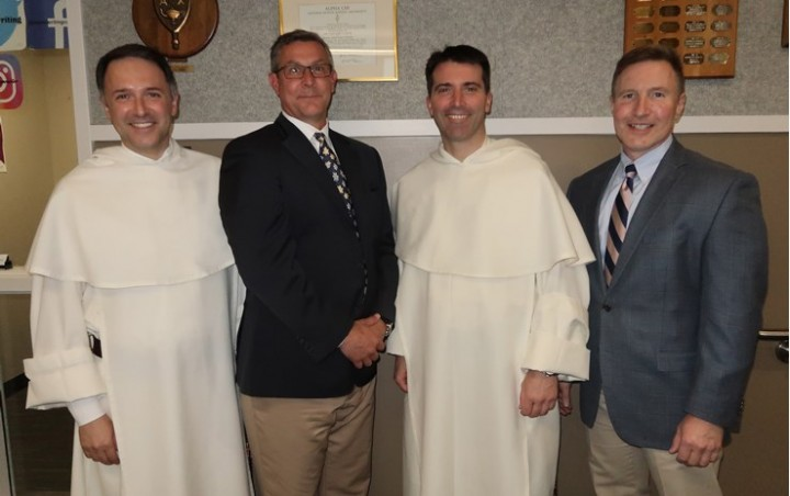 Left to right: Fr. Aquinas Guilbeau, OP, a member of Mount Saint Mary College's Board of Trustees; Dr. Jason N. Adsit, president of Mount Saint Mary College ;Fr. Dominic Legge, OP, director of the Thomistic Institute in Washington, D.C.; and Charles Zola, assistant to the president for Mission Integration, associate professor of Philosophy, and director of the Mount's Catholic and Dominican Institute. .