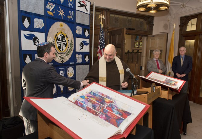 Rabbi Philip Weintraub of Congregation Agudas Israel in Newburgh, N.Y. and Fr. Francis Amodio, O.Carm., Mount campus chaplain and director of Campus Ministry