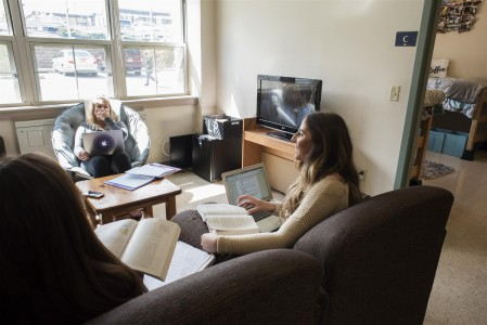 Students in dorm common room