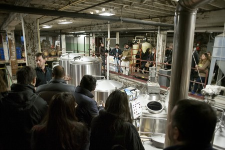 Students touring brewery