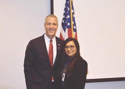 Student with state senator